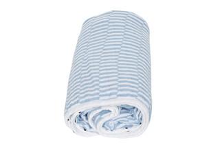 Mušelínová deka Motherhood - modré proužky